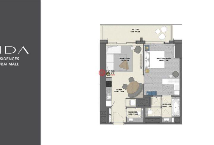 阿联酋迪拜迪拜的公寓,迪拜购物中心,编号54986620