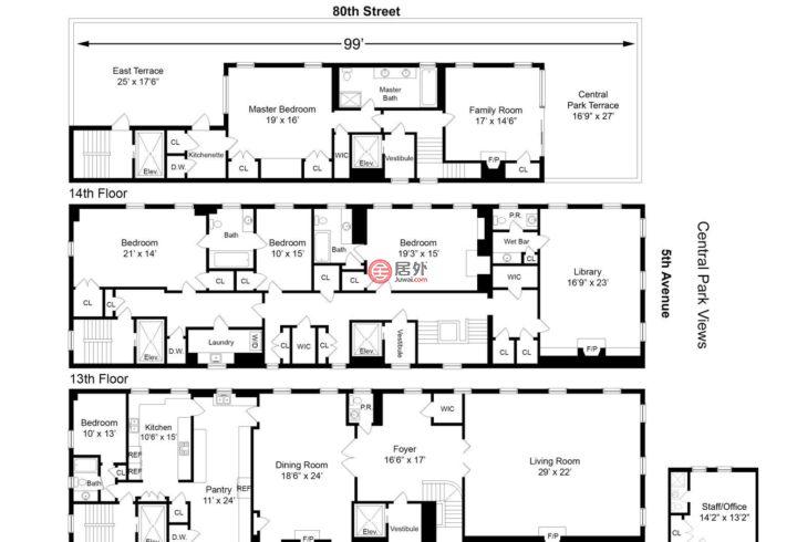 美国纽约州纽约的房产,990 Fifth Avenue PH12/13/14,编号47849338